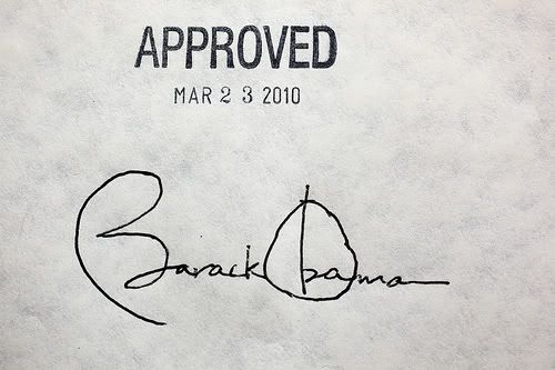President Obama's Signature on the Patient Protection and Affordable Care Act