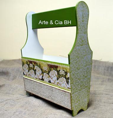 artesanato decoupage carimbo revisteiro pintura madeira mdf
