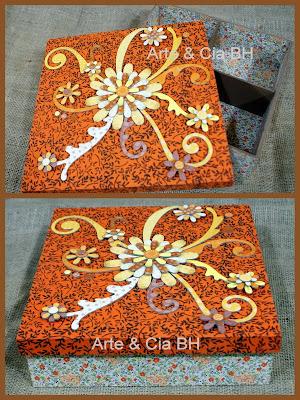 artesanato decoupage caixa tecido madeira mdf