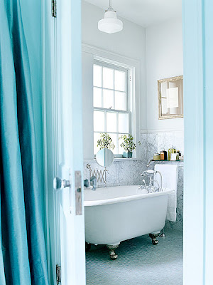 Blue Bathroom Design as a Retro Bathroom