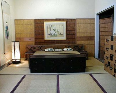 Japanese traditional room design with antique furniture