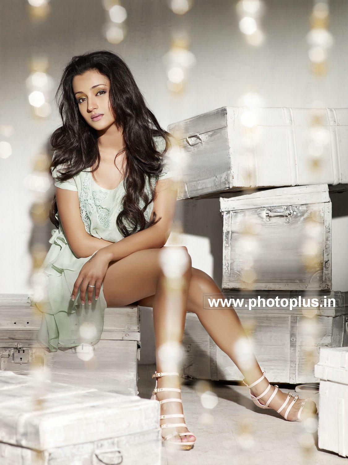 Trisha sexposing hot thighs and cleavage for South Scope magazine photo shoot