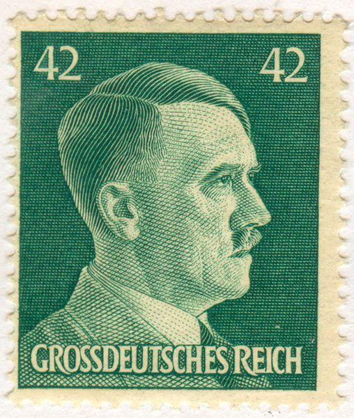 Adolf Hitler's face on a German stamp 1944