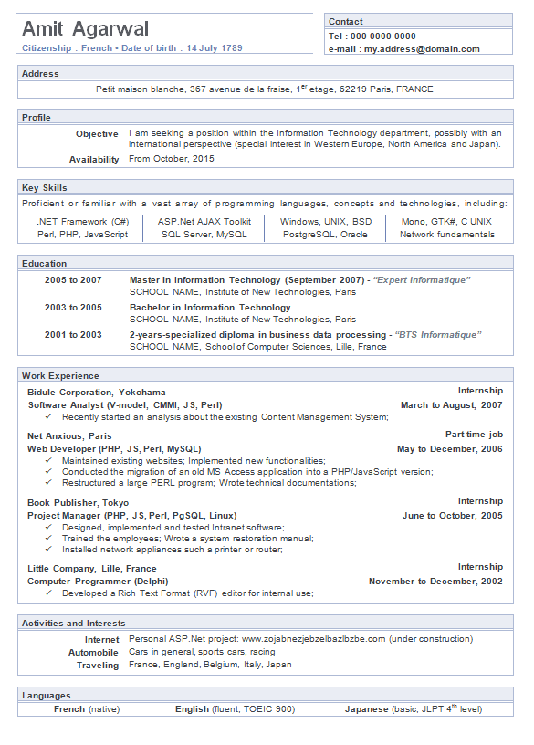 A Typical Job Résumé, Or Curriculum Vitae, Is Often A Long And Boring ( See  Image On Right ) Word Document Highlighting Your Education, Work  Experience, ...  How A Resume Should Look Like