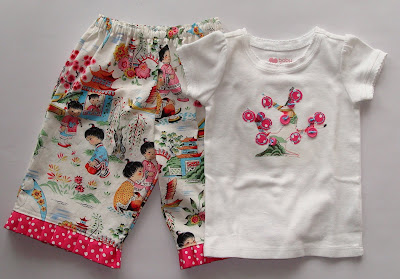 Applique Cherry Tree Shirt and Ruffle Pants via lilblueboo.com