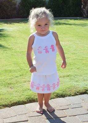 Block Printed Toddler Skirt tutorial finished via lilblueboo.com