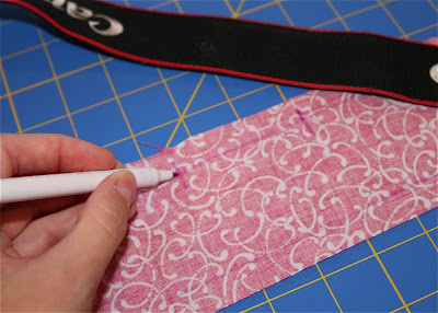 Scrap Ribbon Camera Strap Cover (A Tutorial) step 8 via lilblueboo.com
