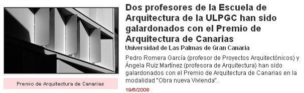 PREMIOS CANARIAS DE ARQUITECTURA 2008
