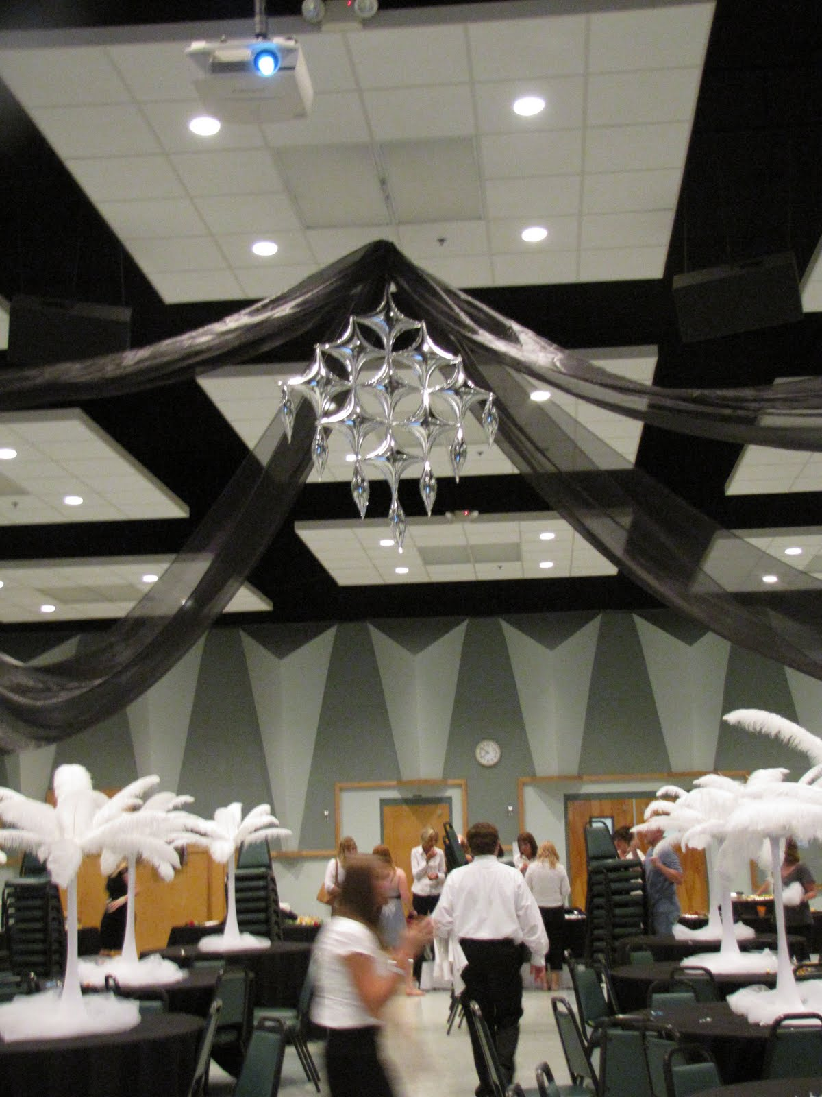 Party people event decorating company homecoming lakeland christian school 2010 - Black silver and white party decorations ...