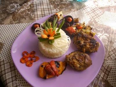 Articole culinare : Pui si legume la gratar si orez, Fripturi