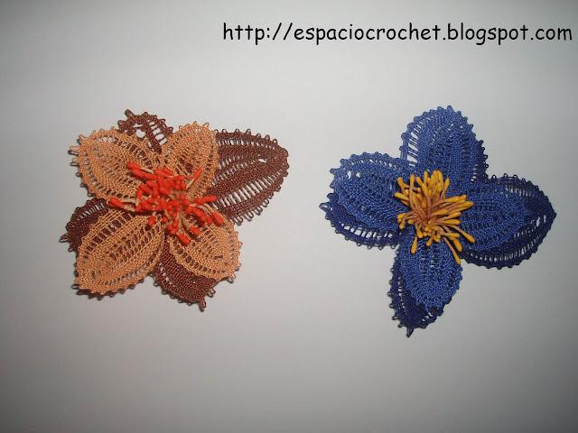 Flores de encaje de bolillos