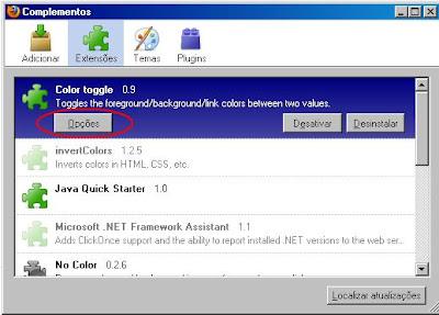 Janela complementos do Firefox com o Color Toggle selecionado