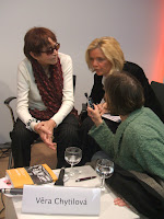 Director Vera Chytilova, left, and her interpreter; photo by Val Phoenix