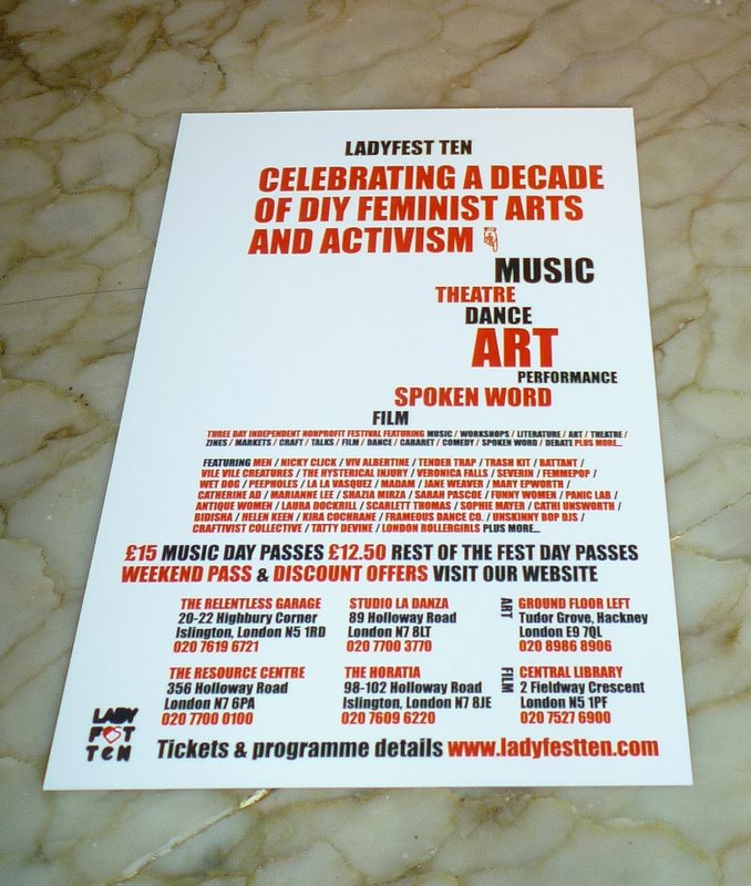 Flyer for Ladyfest Ten; photo by Val Phoenix I'm currently wrapped up with ...