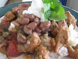 Pork and Poblano Peppers with Creamy Slow Cooker Beans