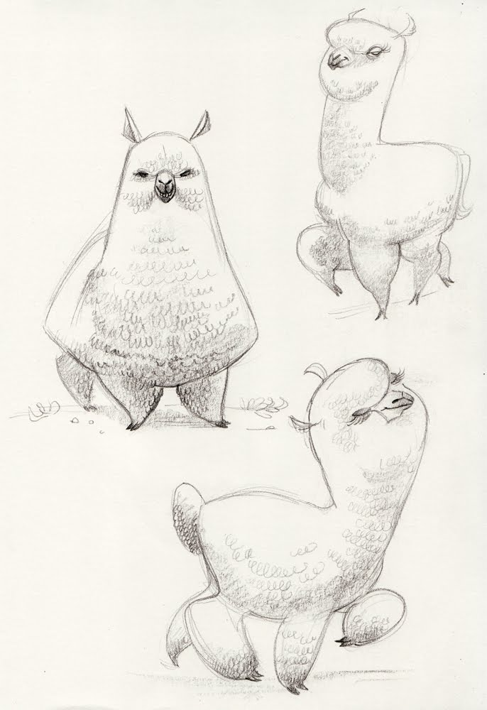 Line Drawing Llama : Even more llama drawings almontree