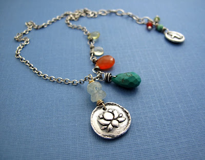 silver charm necklace jewelry lotus blossom