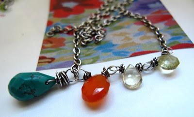 gemstones necklace southwest turquoise carnelian
