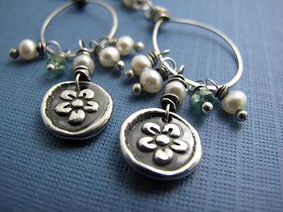 silver plum blossom charm jewelry earrings