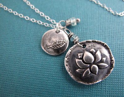 silver leaf lotus necklace yoga inspired jewelry