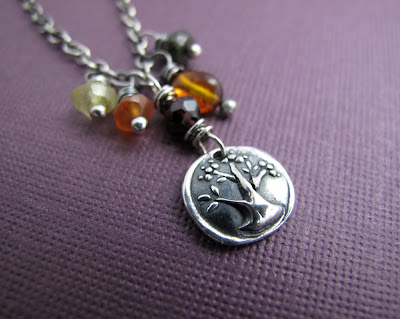 silver tree charm necklace thanksgiving harvest jewelry