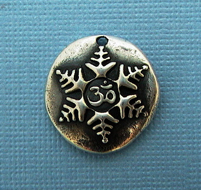 silver om snowflake charm hint jewelry