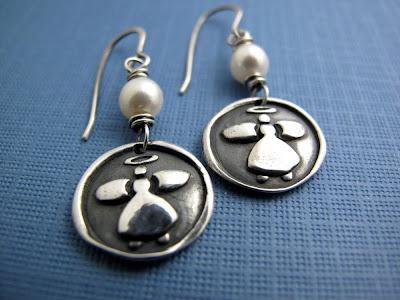 silver guardian angel charm earrings jewelry