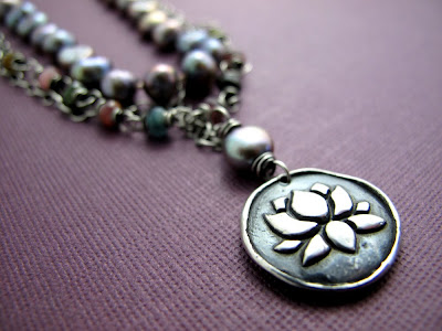 silver lotus blossom necklace pearl jewelry