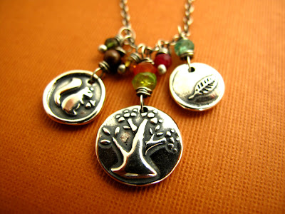 silver charm tree of life squirrel leaf necklace jewelry