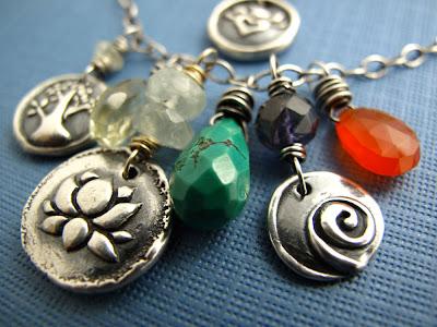 lotus blossom karma silver charm jewelry necklace