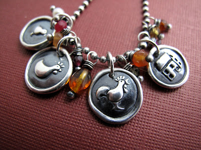 silver urban chicken charm necklace rooster hen chick farm