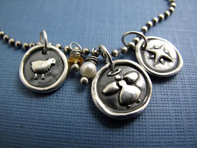 silver lamb sheep angel star bethlehem charm necklace