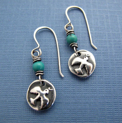 silver dove peace earrings jewelry turquoise