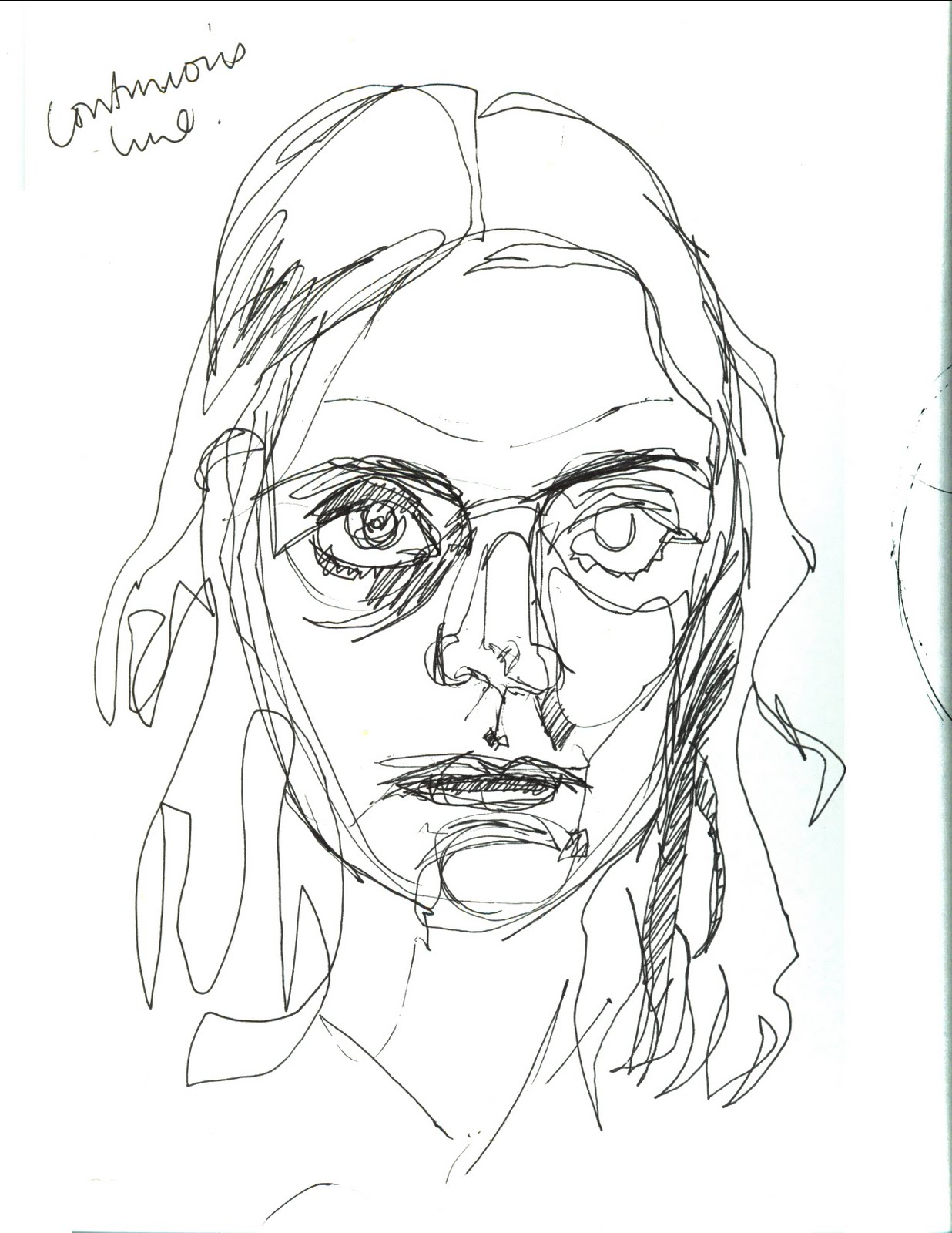 Continuous Line Drawing Of A Face : Hello