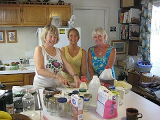Joyce,Karen and Julie chopping ingredients