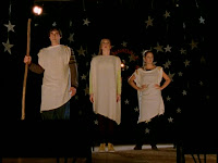 Xander, Willow, and Buffy perform a scene from Oedipus Rex