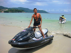 Jet-skiing, and got thrown off the jet-ski, out in the deep blue open sea