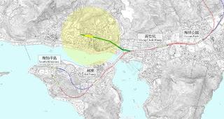 南港島線香港仔支線(綠線)示意圖,淺黃底色為車站週邊500米的覆蓋範圍。(底圖來源:港鐵公司)