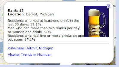 screen shot of america's drunkest cities