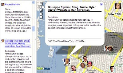 screen shot of celebrity restaurants map