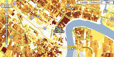 screen shot of New Orleans Repopulation Map