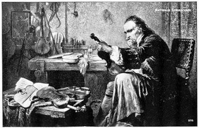 Dibujo románico de Antonio Stradivari, sentado en su taller, con uno de sus violines en sus manos