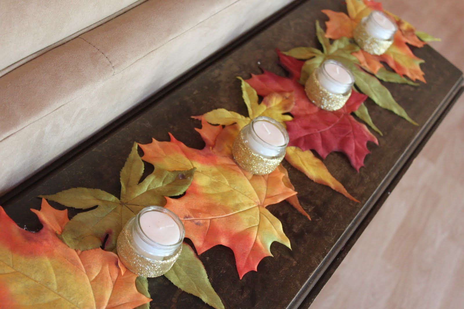 I Saw These Huge Autumn Leaves At Rite Aid The Other Day And Last Night I  Came Up With The Idea For This Table Runner And Went Back And Picked Up A  ...