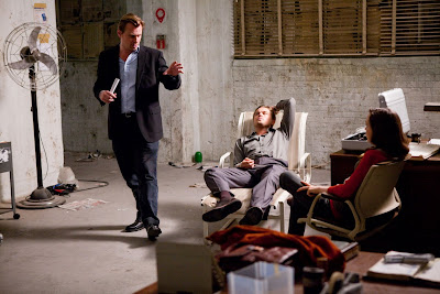 Christopher Nolan, Leonardo DiCaprio and Ellen Page on the Inception set
