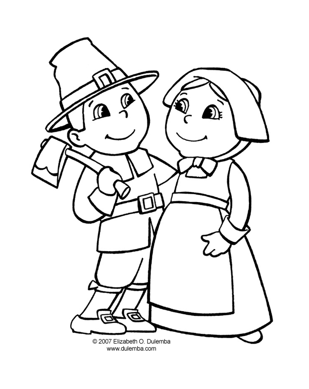 Apples4theteacher Coloring Pages : Coloring page pilgrim thanksgiving � free pages