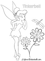 tinkerbell flower coloring page