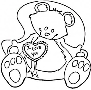 valentine teddy coloring printables