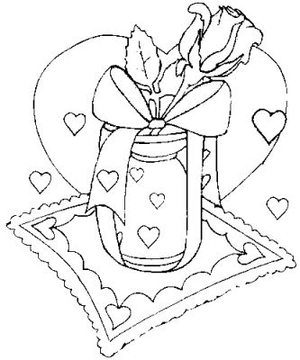Valentine Rose Coloring Pages