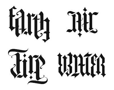 Ambigram : earth, air, fire, water