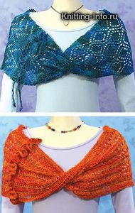 ажурные узоры для вязания спицами пуховых шарфов. вязание спицами...